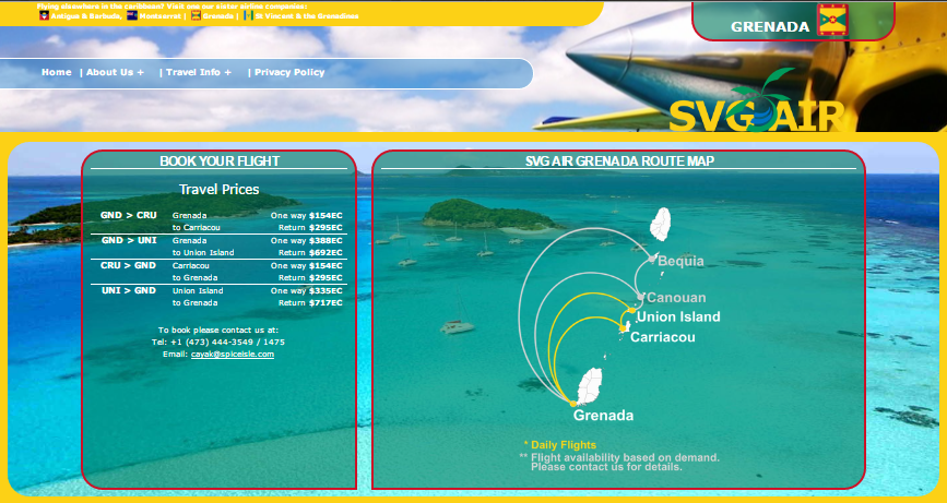 This is a link to our sister company St. Vincent Grenada Air