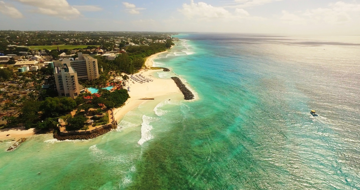 Barbados areal view of the Hilton Hotel