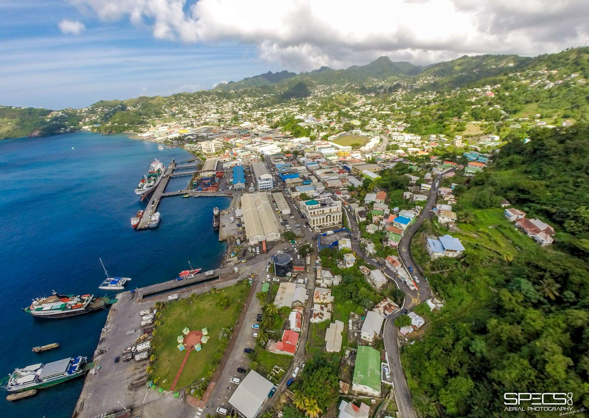 Kingstown St. Vincent areal view seaward