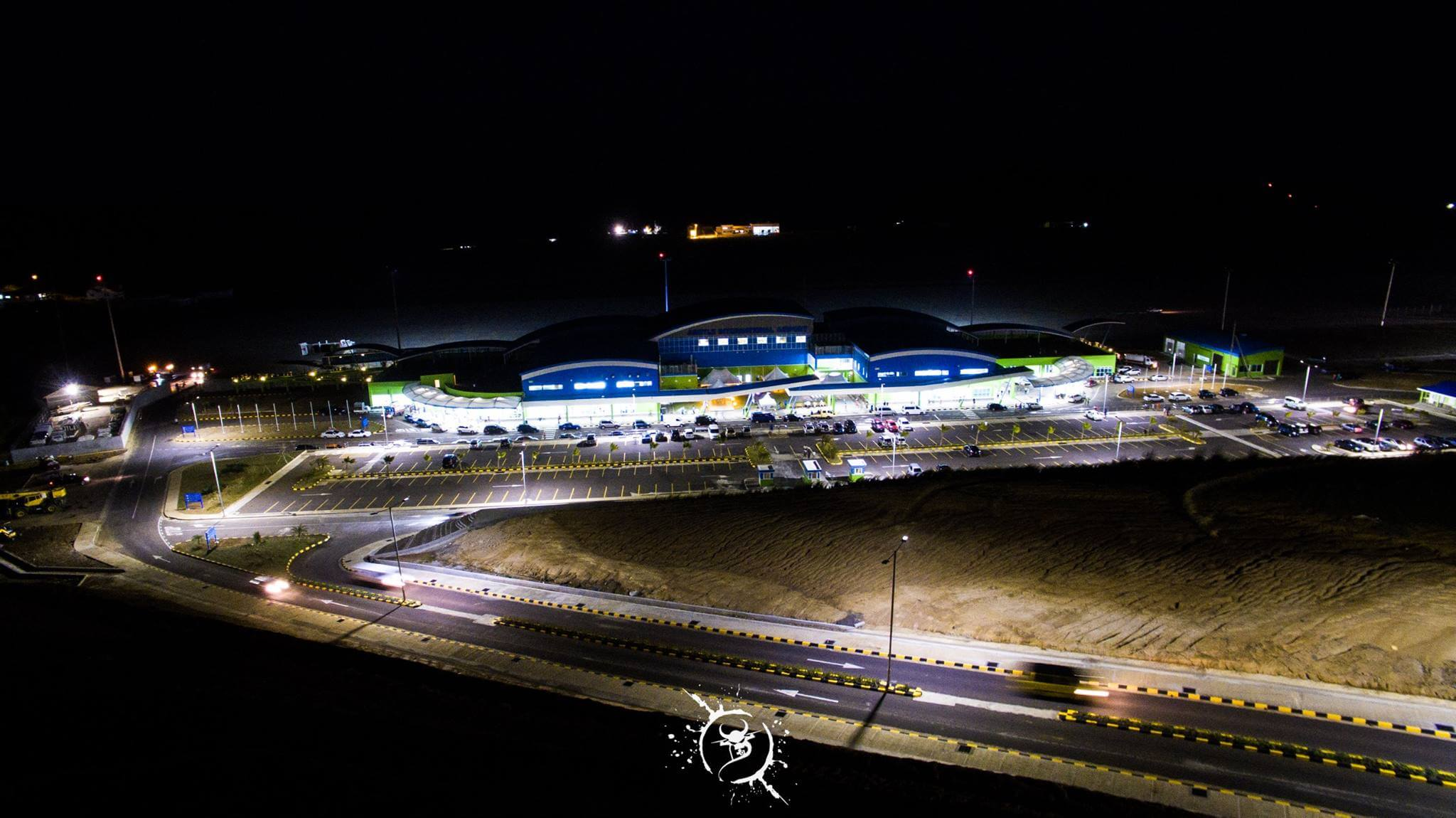 Argyle International Airport night time drone view